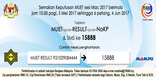 Muet Result Mac 2017 SMS