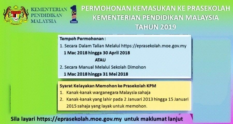 Permohonan online kemasukan murid Prasekolah 2019 KPM